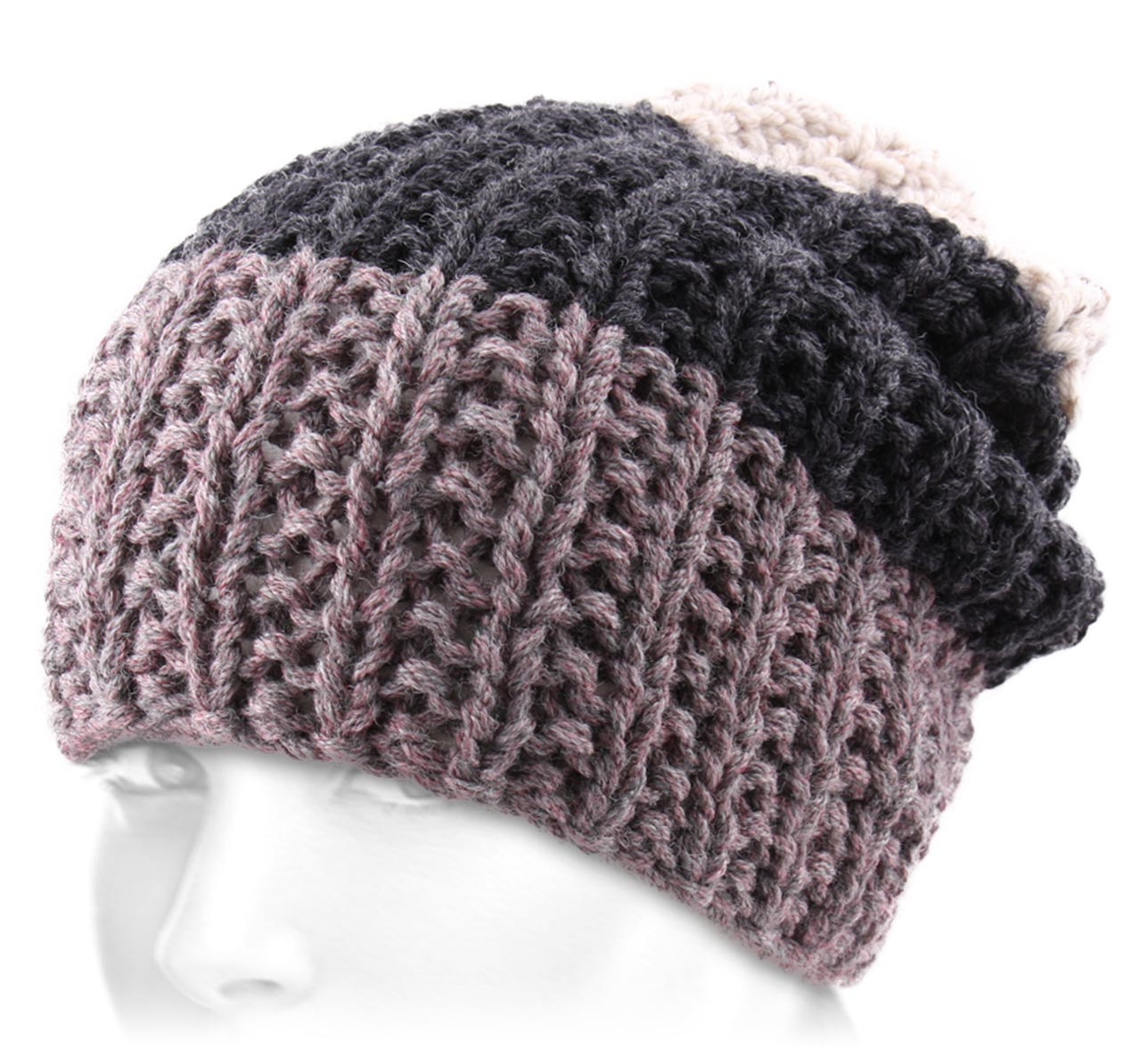 Bonnet crochet Tri Coloured Broken