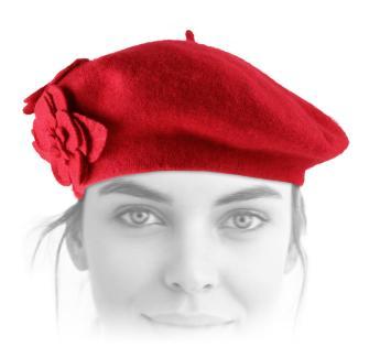 ZALING Femmes Classique B/éret Fran/çais Bonnet Casquettes Hiver Chaud Double Fleur Feutre Chapeau pour Femmes Chapeau Plat Chapeau